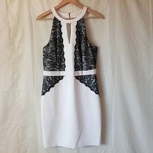GUESS LA Off White Halter Black Floral Lace Dress